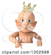 Clipart Of A 3d Bald White Baby Boy Wearing A Crown Pointing Down Over A Sign Royalty Free Illustration by Julos