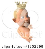 Clipart Of A 3d Bald White Baby Boy Wearing A Crown And Looking Around A Sign Royalty Free Illustration by Julos
