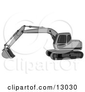 Gray Trackhoe Excavator Clipart Illustration