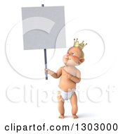 Clipart Of A 3d Standing Bald White Baby Boy Wearing A Crown Holding And Pointing To A Blank Sign Royalty Free Illustration by Julos
