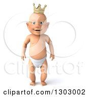 Clipart Of A 3d Standing Bald White Baby Boy Wearing A Crown Royalty Free Illustration