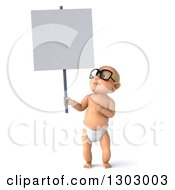 Clipart Of A 3d Bespectacled White Baby Boy Holding And Pointing To A Blank Sign Royalty Free Illustration