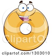Clipart Of A Cartoon Happy Round Glazed Or Plain Donut Character Royalty Free Vector Illustration by Hit Toon