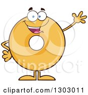 Clipart Of A Cartoon Friendly Waving Round Glazed Or Plain Donut Character Royalty Free Vector Illustration by Hit Toon