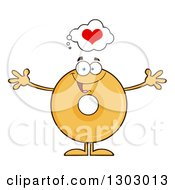Clipart Of A Cartoon Happy Round Glazed Or Plain Donut Character With Open Arms Thinking About Love Royalty Free Vector Illustration