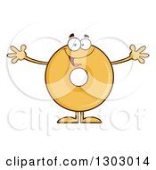 Clipart Of A Cartoon Happy Round Glazed Or Plain Donut Character With Open Arms Royalty Free Vector Illustration