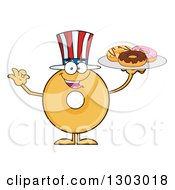 Clipart Of A Cartoon Happy Round Glazed Or Plain American Donut Character Gesturing Ok And Holding A Plate Royalty Free Vector Illustration by Hit Toon