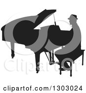 Black Silhouetted Piano Man Musician Playing