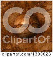 Clipart Of A 3d Brown Patterned Fractal Globe Over A Matching Background Royalty Free Illustration
