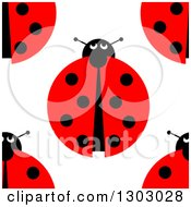 Clipart Of A Seemless Aerial View Of Ladybugs Background Pattern Royalty Free Illustration