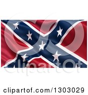 Clipart Of A 3d Rippling Confederate Battle Flag Royalty Free Illustration