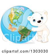 Cute Polar Bear Cub Hugging Planet Earth With An Orange Butterfly