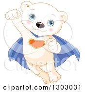 Clipart Of A Cute Baby Polar Bear Cub Super Hero Flying Royalty Free Vector Illustration