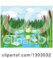 Clipart Of A Cute Frog With A Reflection Resting On A Lily Pad On A Pond Royalty Free Vector Illustration