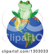 Clipart Of A Cute Happy Frog Sitting On Top Of Planet Earth Royalty Free Vector Illustration