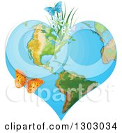 Heart Shaped Planet Earth With Spring Flowers And Butterflies
