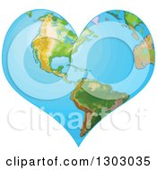 Clipart Of A Heart Shaped Planet Earth Royalty Free Vector Illustration