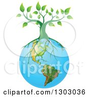 Clipart Of A Green Tree With Roots Spreading On Planet Earth Royalty Free Vector Illustration