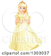 Happy Blond Blue Eyed Caucasian Princess Standing In A Yellow Dress And Forming A Heart With Her Hands