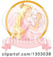 Clipart Of A Blond Caucasian Princess Holding And Rubbing Noses With A White Kitten In A Circle Over A Blank Pink Banner Royalty Free Vector Illustration