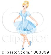 Blond Blue Eyed Caucasian Princess Curtseying In A Short Blue Dress