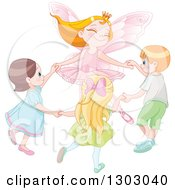 Pink Fairy Princess Holding Hands And Dancing With Caucasian Children