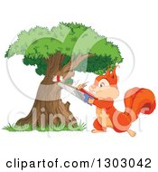 Clipart Of A Happy Squirrel Cutting A Tree Royalty Free Vector Illustration