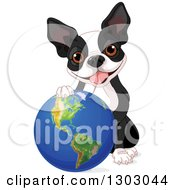 Clipart Of A Cute Boston Terrier Or French Bulldog Resting A Paw On Planet Earth Royalty Free Vector Illustration