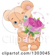 Clipart Of A Cute And Sweet Teddy Bear Holding Mothers Day Rose Flowers Royalty Free Vector Illustration
