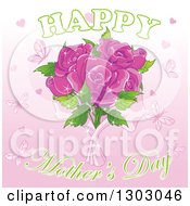Happy Mothers Day Greeting With Pink Butterflies Hearts And Roses With Sparkles