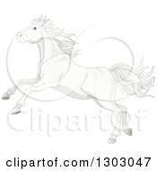 Clipart Of A Pretty White Horse Running Or Rearing Royalty Free Vector Illustration
