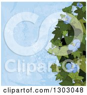 Clipart Of A Background Of Ivy And Flowers Over Blue Texture Royalty Free Vector Illustration by Pushkin