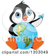 Clipart Of A Cute Baby Penguin Sitting With An Earth Globe And A Blue Butterfly Royalty Free Vector Illustration