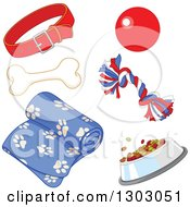 Clipart Of A Dog Collar Toys Bone Dish And Blanket Royalty Free Vector Illustration