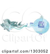 Clipart Of A Fantasy Sea Carriage With Dolphins Royalty Free Vector Illustration