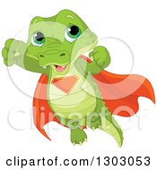Clipart Of A Cute Baby Alligator Super Hero Flying Royalty Free Vector Illustration by Pushkin