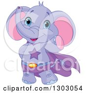 Clipart Of A Cute Baby Purple Elephant Super Hero Waving Royalty Free Vector Illustration by Pushkin