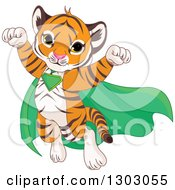 Clipart Of A Cute Baby Tiger Cub Super Hero Flying Royalty Free Vector Illustration by Pushkin