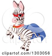 Clipart Of A Cute Baby Zebra Super Hero Rearing Royalty Free Vector Illustration
