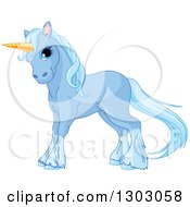 Clipart Of A Cute Blue Unicorn With Hair Waving Royalty Free Vector Illustration