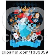 Clipart Of A Bottle Of Potion With A Drink Me Tab With Alice And Wonderland Cards And Items Over A Blank Banner On Black Royalty Free Vector Illustration by Pushkin