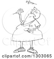 Black And White Cartoon Chubby Female Nurse Juggling Vaccine Syringes