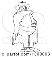 Cartoon Black And White Chubby Dracula Vampire Flipping The Bird
