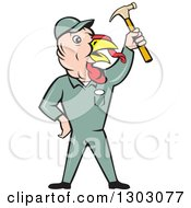 Poster, Art Print Of Cartoon Turkey Bird Builder Worker Holding Up A Hammer