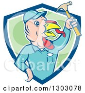 Clipart Of A Retro Cartoon Turkey Bird Builder Worker Holding Up A Hammer In A Blue White And Green Shield Royalty Free Vector Illustration