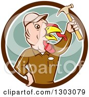 Clipart Of A Retro Cartoon Turkey Bird Builder Worker Holding Up A Hammer In A Brown White And Green Circle Royalty Free Vector Illustration by patrimonio