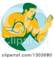 Retro Male Rugby Player Fending Off In A Blue Circle