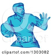 Clipart Of A Blue Engraved Or Sketched Male Rugby Player Fending Royalty Free Vector Illustration