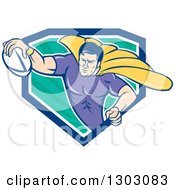 Clipart Of A Retro Cartoon Super Hero Flying With A Rugby Ball And Emerging From A Blue White And Turquoise Ray Shield Royalty Free Vector Illustration