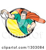 Retro Cartoon Super Hero Flying With A Rugby Ball And Emerging From A Black White And Yellow Sun Rays Circle